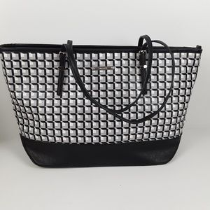 Nine West black and white tote